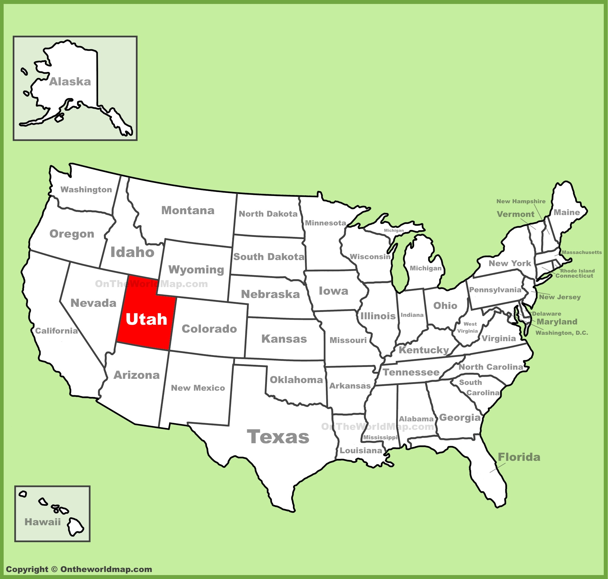 Utah Location On The US Map - Bank of america us map locations