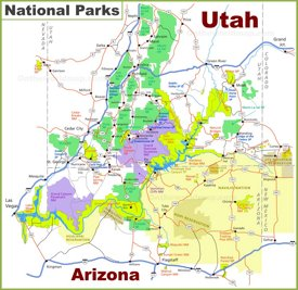 Utah-Arizona national parks map