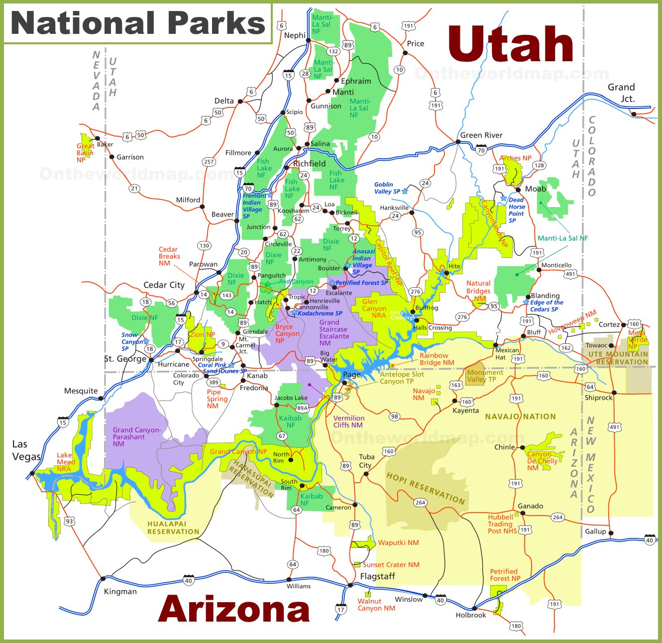 Map Of Arizona Utah Border.Utah Arizona National Parks Map