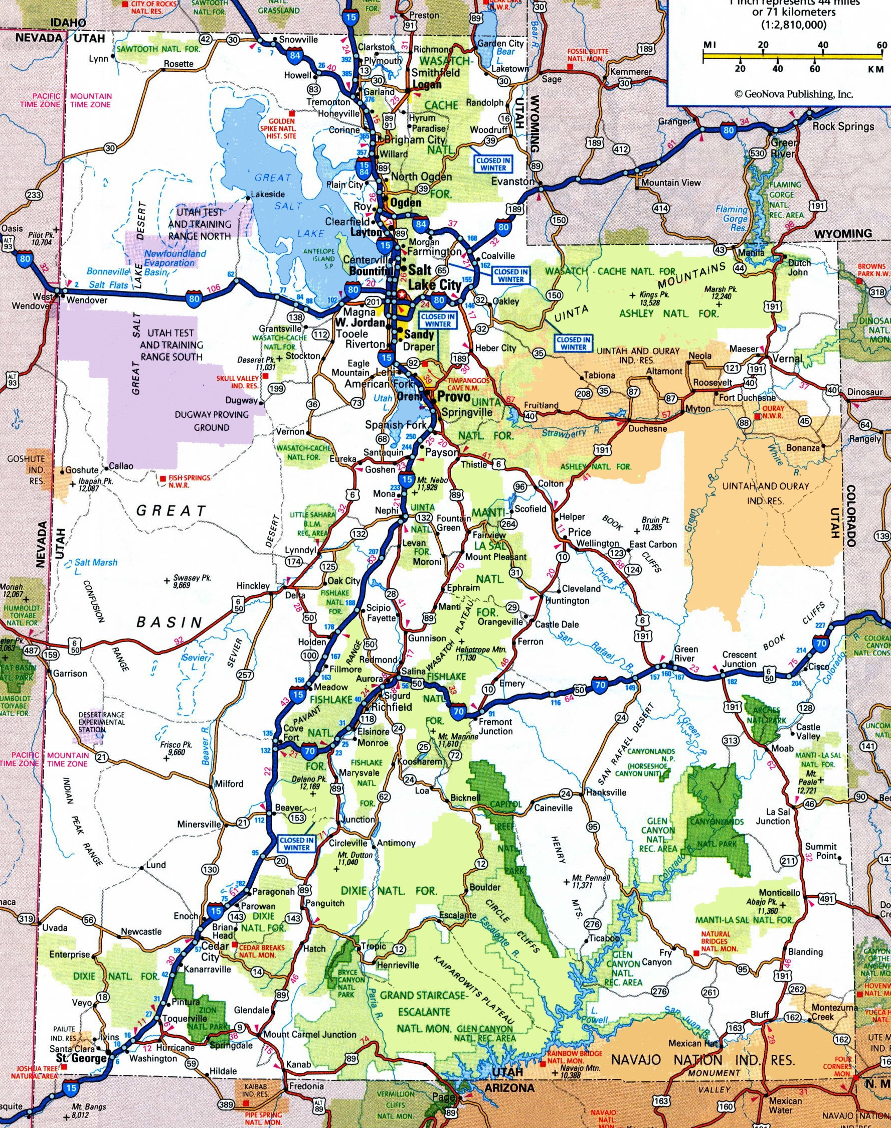 Utah Road Map - Usa map utah