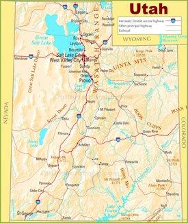 Utah state highway map