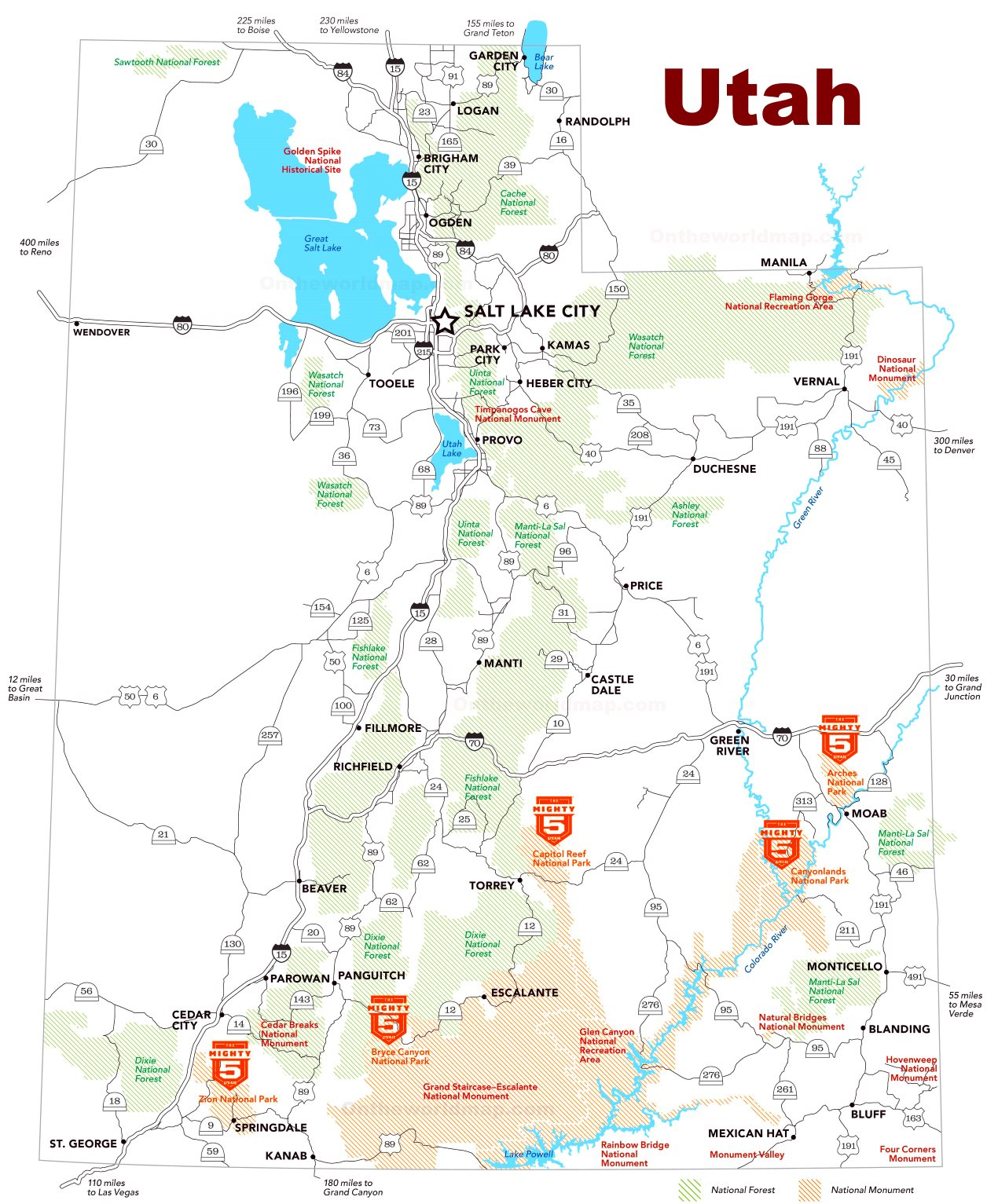 Utah tourist attractions map