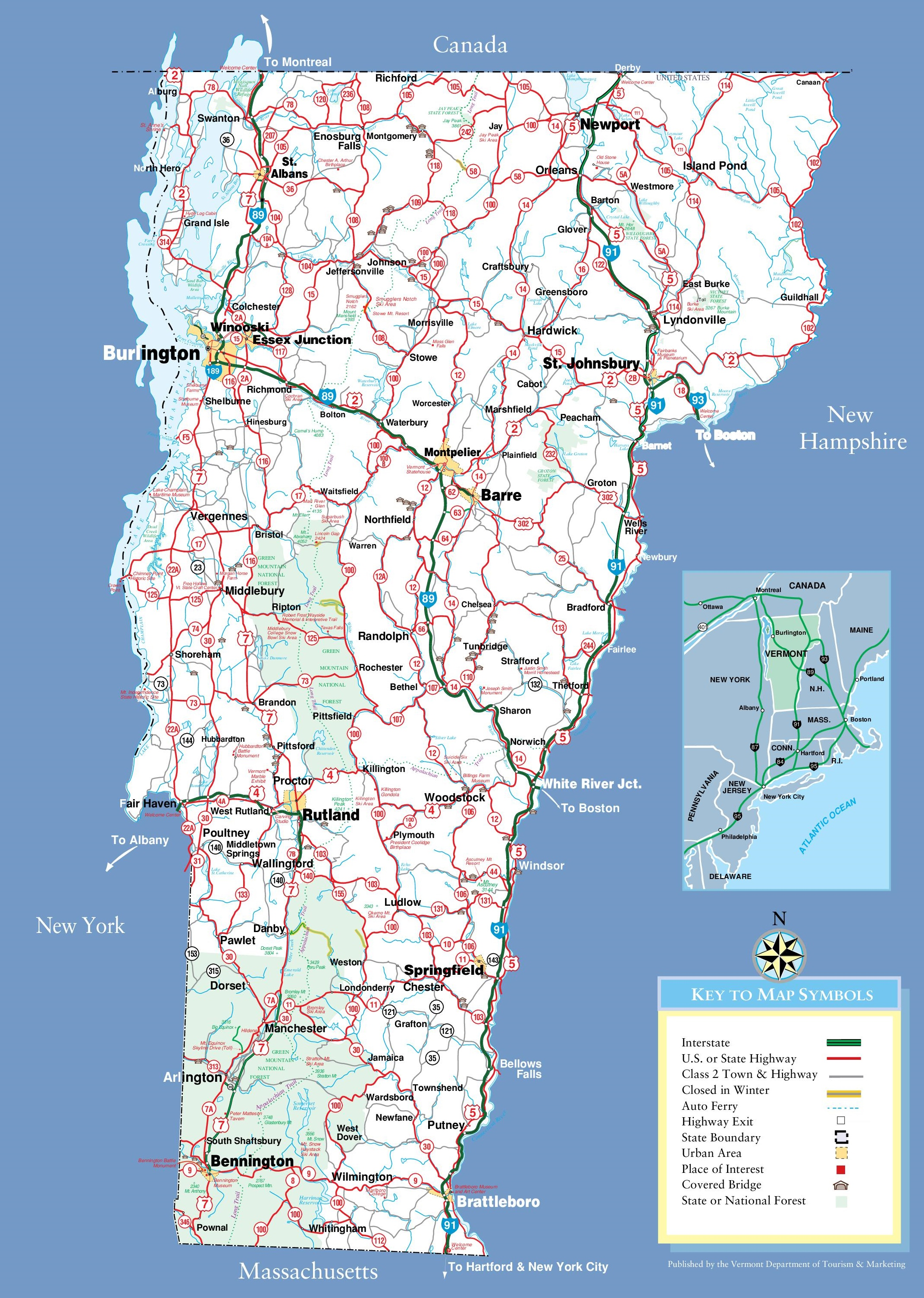 large detailed tourist map of vermont with cities and towns. vermont state maps  usa  maps of vermont (vt)