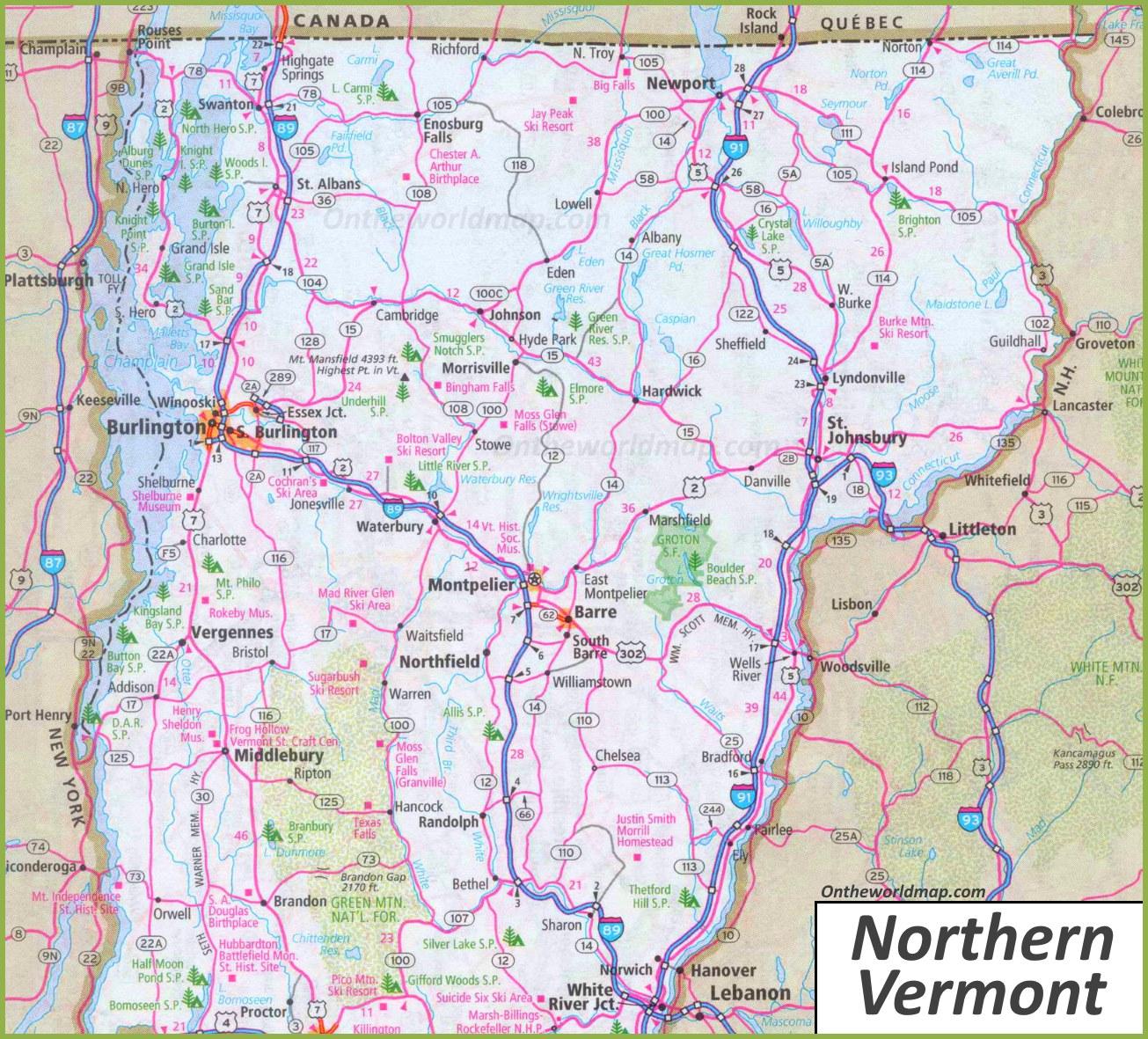 map of northern vermont Map Of Northern Vermont map of northern vermont