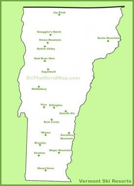Map of Vermont ski resorts