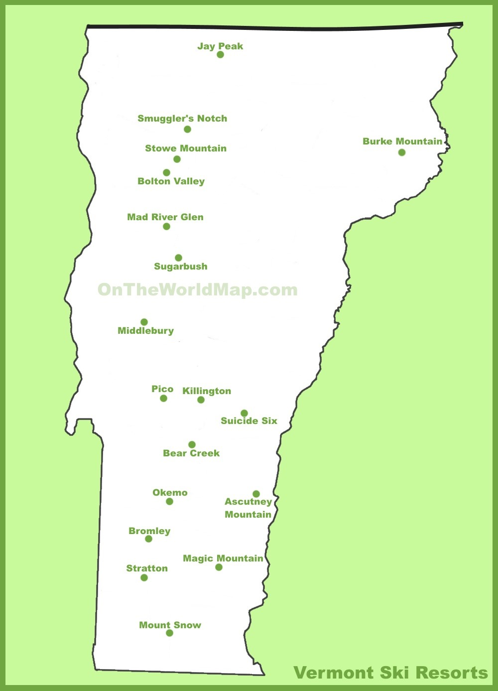 Vermont Ski Resorts Map Map of Vermont ski resorts