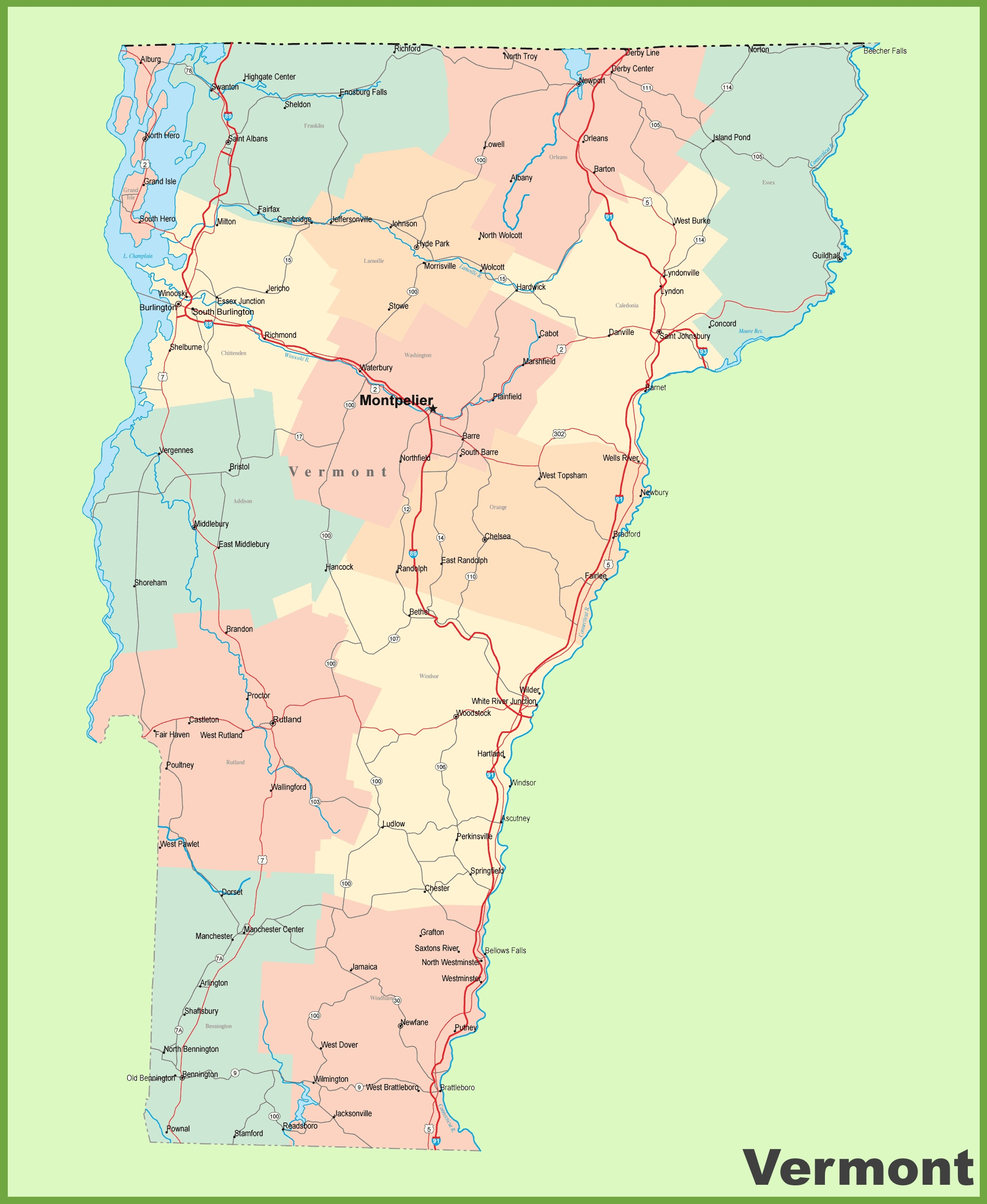 Road map of Vermont with cities
