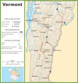 Vermont highway map
