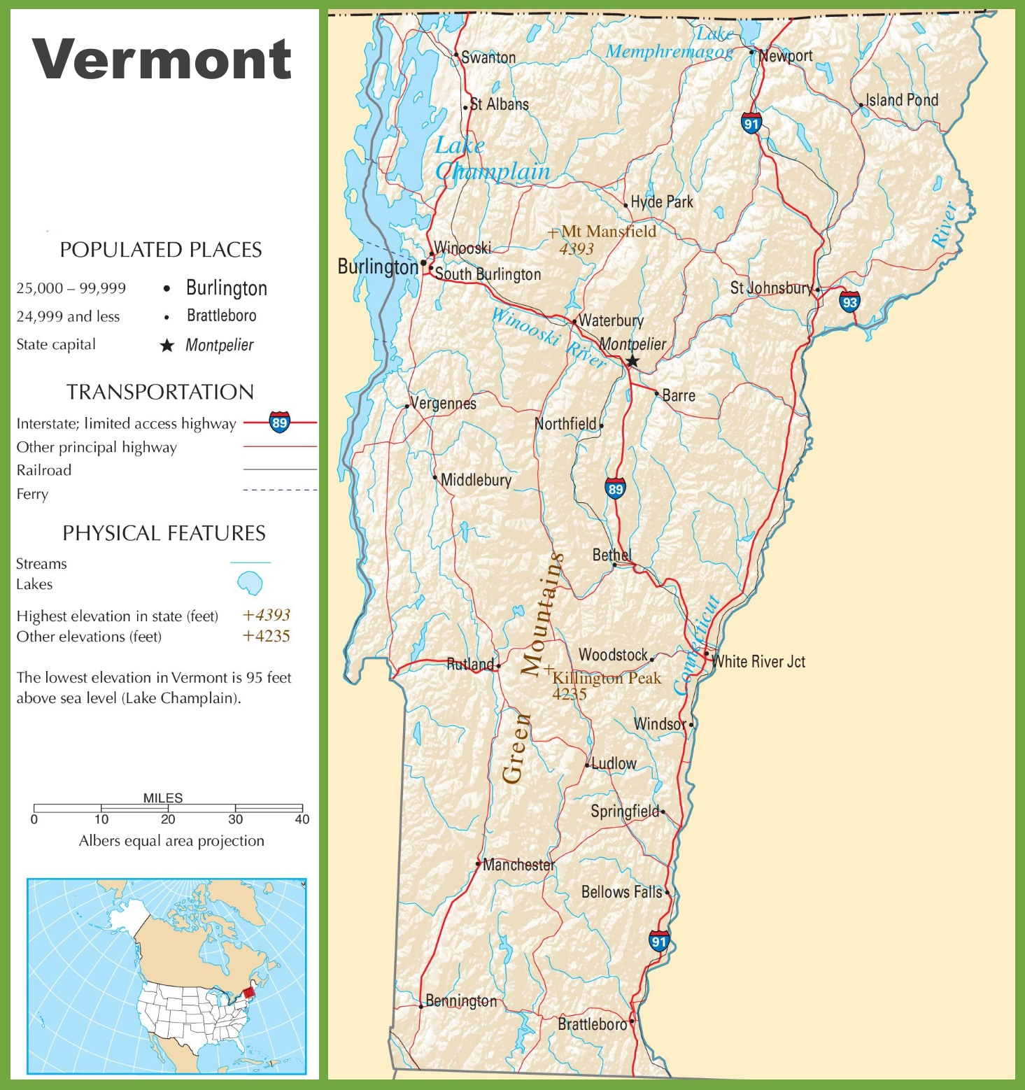 Vermont Highway Map - Vermont in usa map