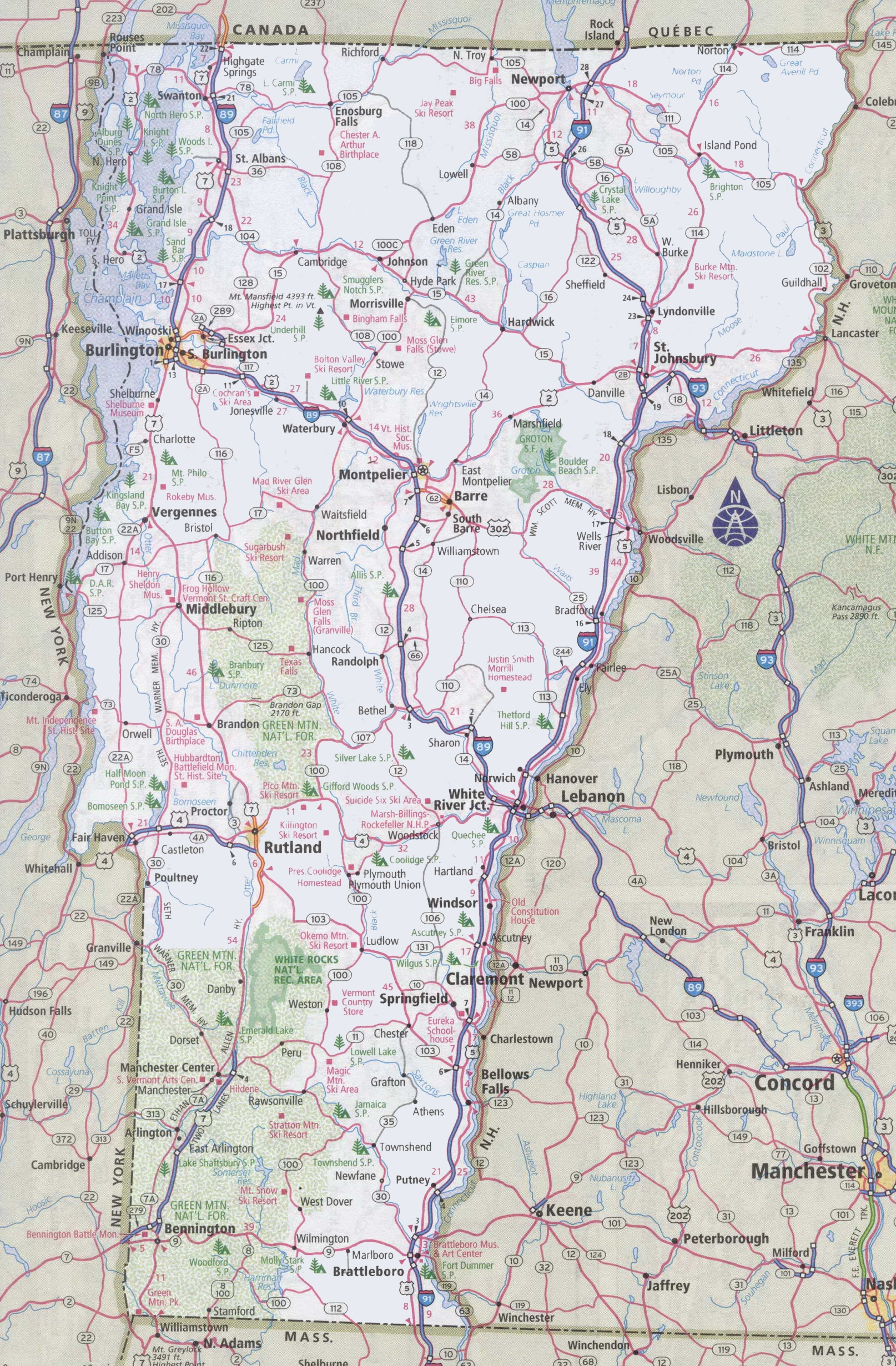 Vermont Road Map - Usa road atlas