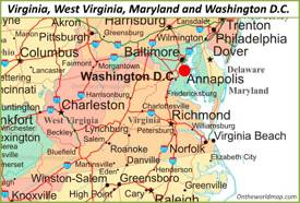 Map of Virginia, Maryland, West Virginia and Washington, D.C.