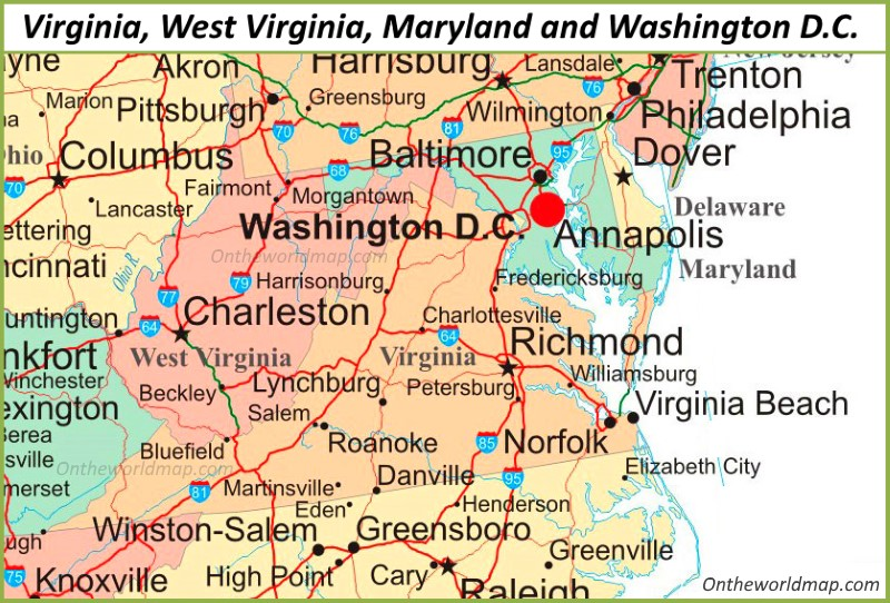 Map Of Virginia Maryland West Virginia And Washington D C
