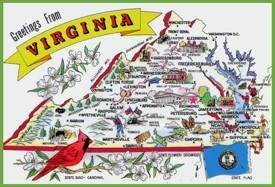 Pictorial travel map of Virginia