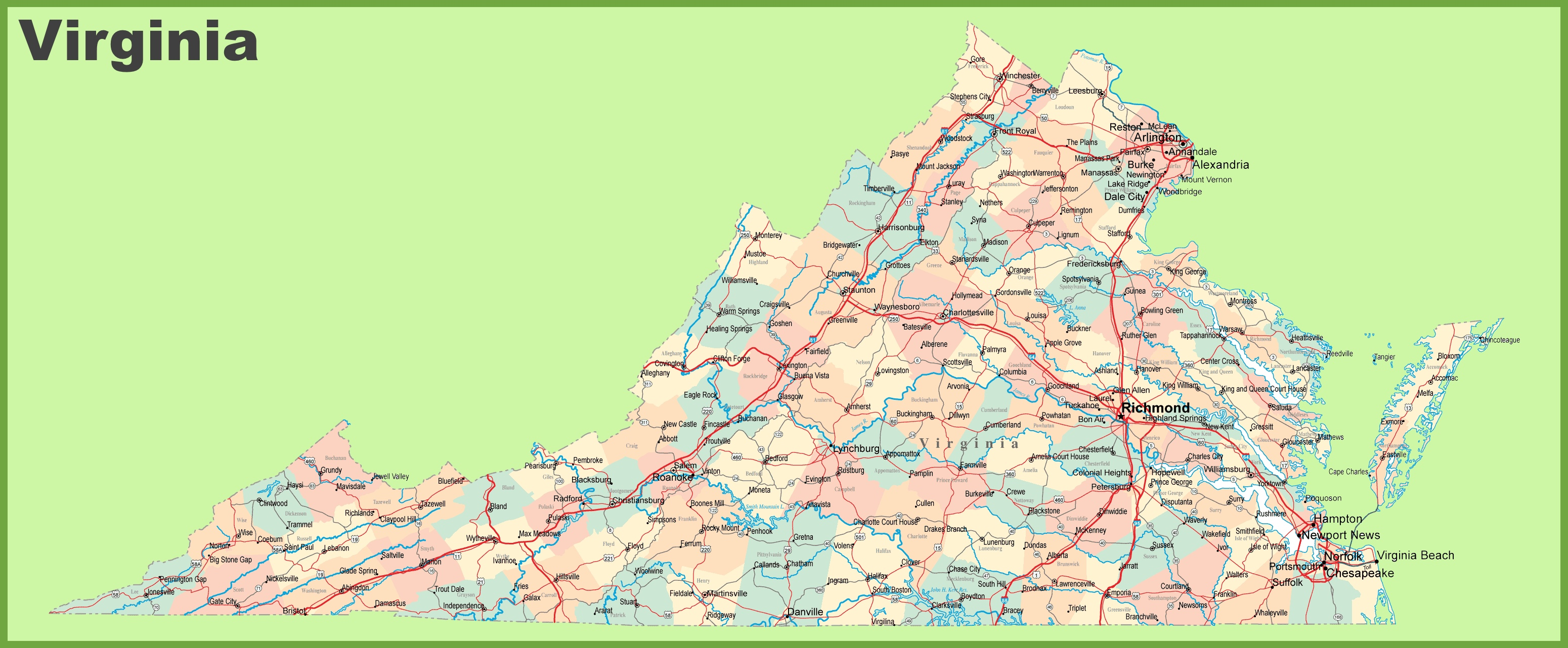 Road Map Of Virginia With Cities - Road map virginia