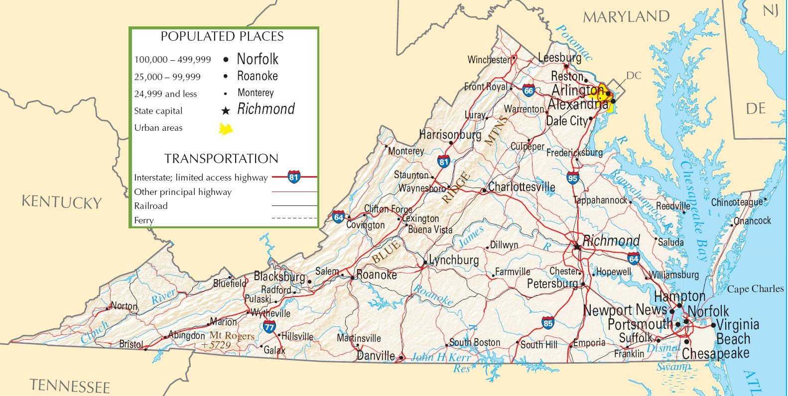 Virginia Usa Map Virginia highway map Virginia Usa Map