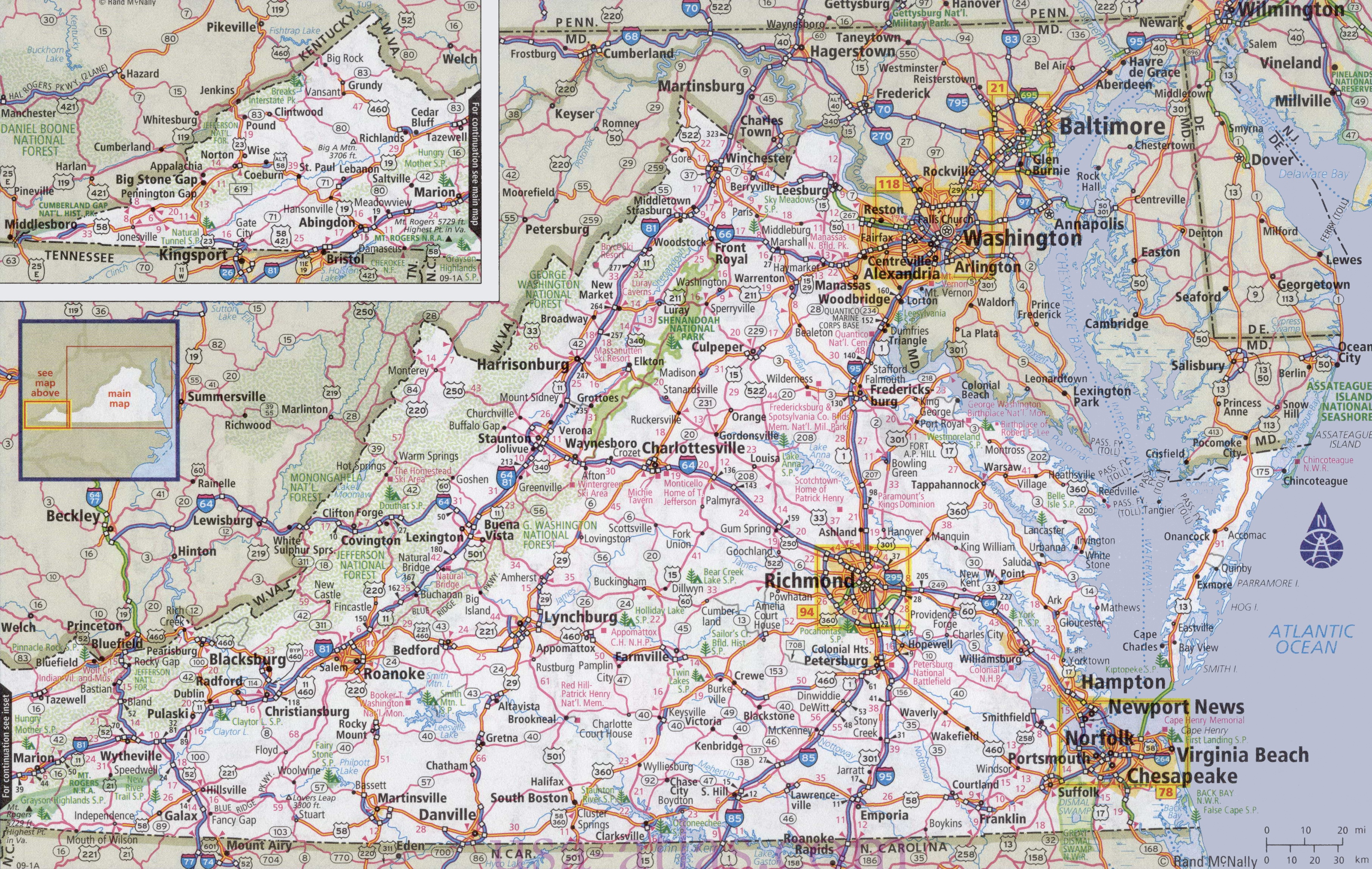 Maps Of Virginia Virginia road map