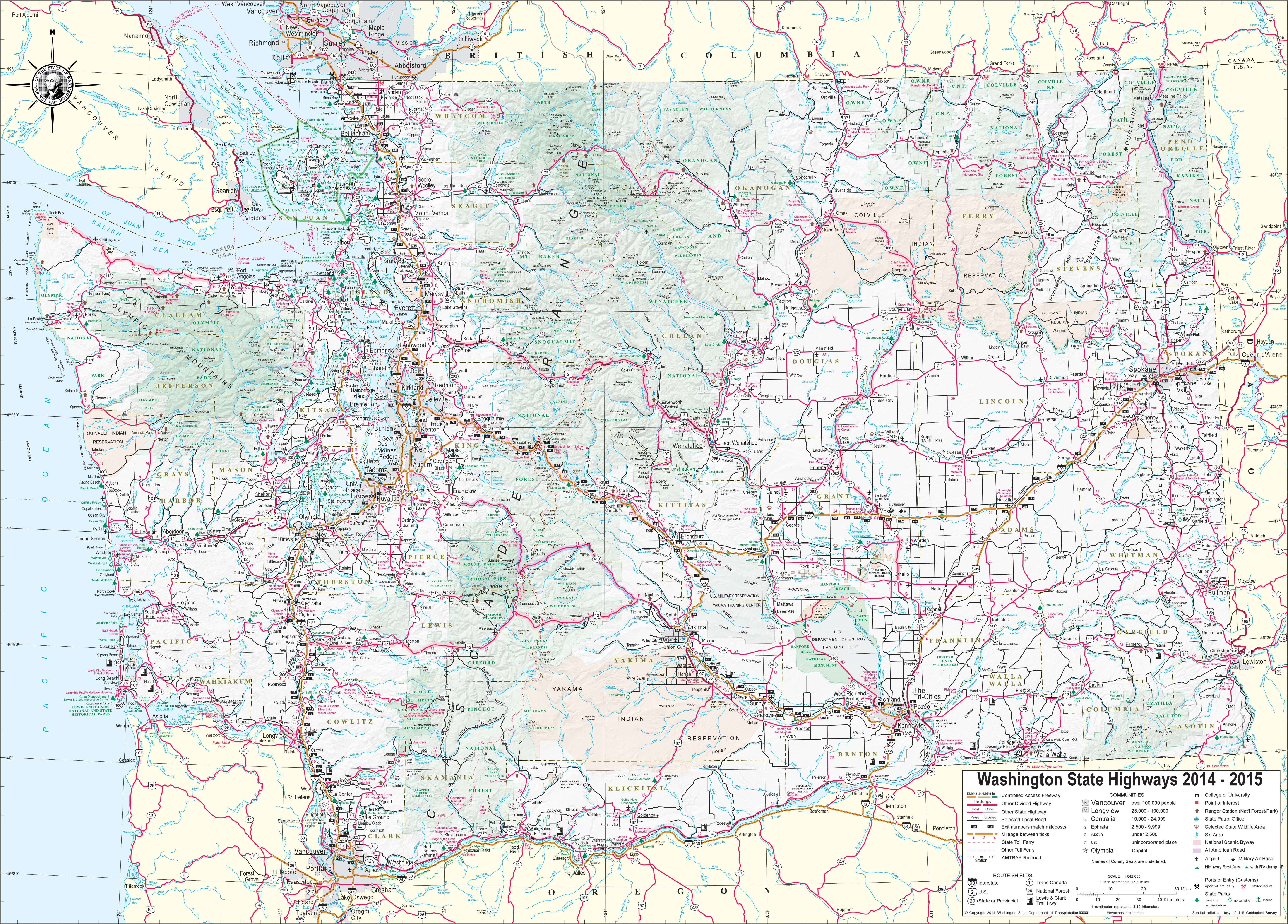 Washington Map With Cities Large detailed tourist map of Washington with cities and towns