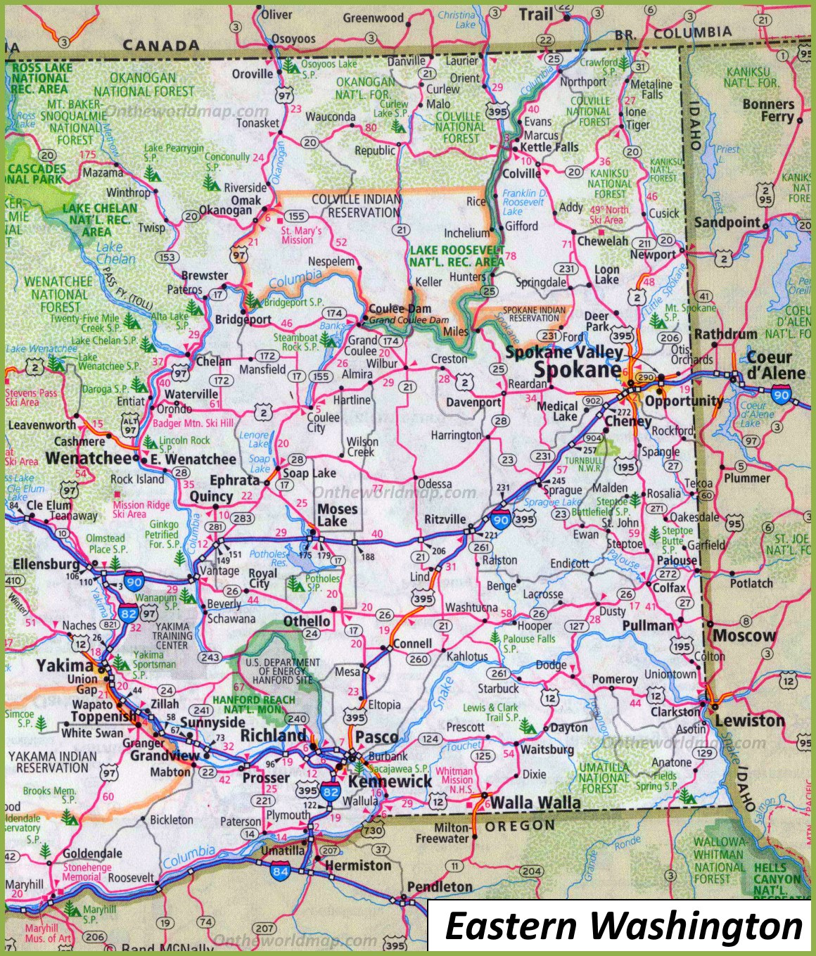 Picture of: Map Of Eastern Washington