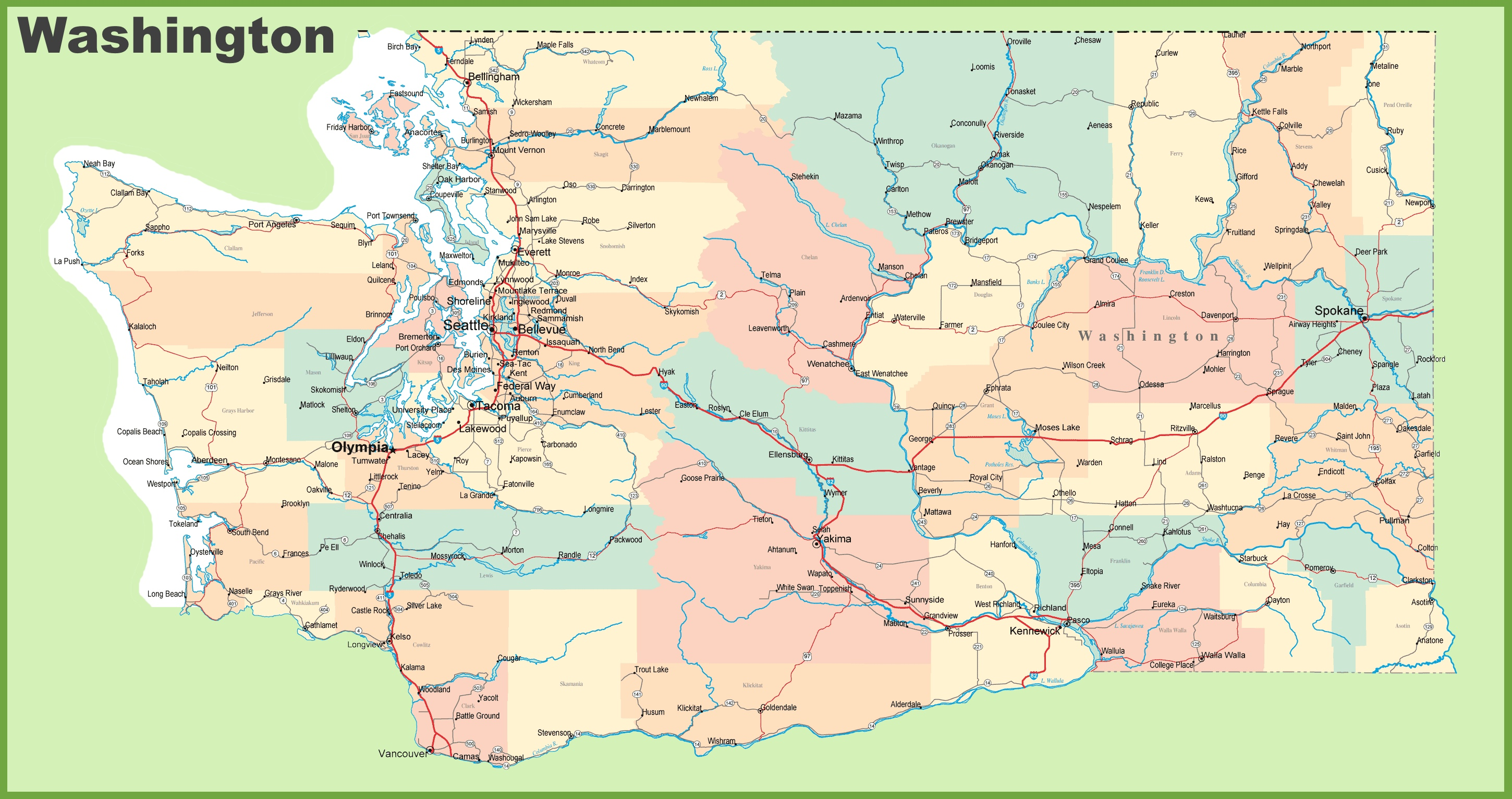 Map Of Washington State Cities Road map of Washington with cities