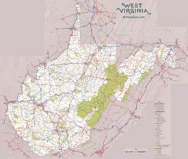 Large detailed tourist map of West Virginia