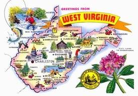 Pictorial travel map of West Virginia