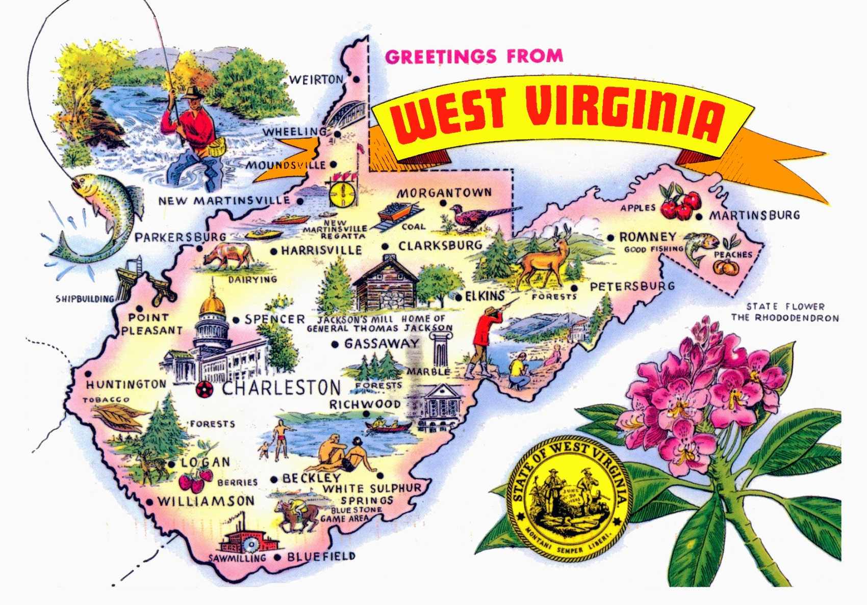 Pictorial Travel Map Of West Virginia - State of west virginia map