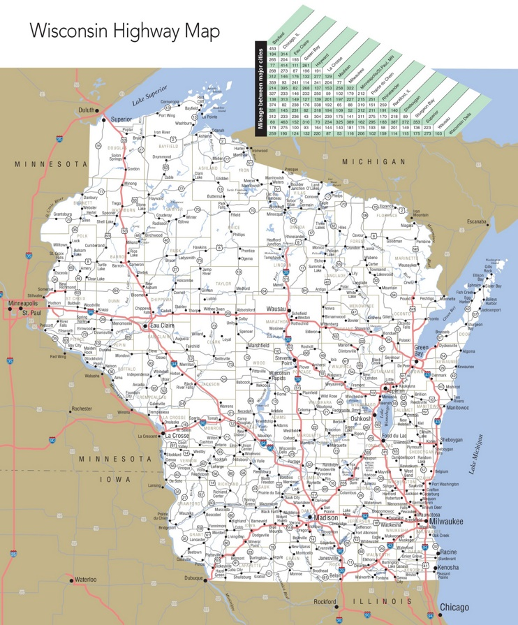 Map Of Wisconsin Swimnovacom - Wisconsin road map usa