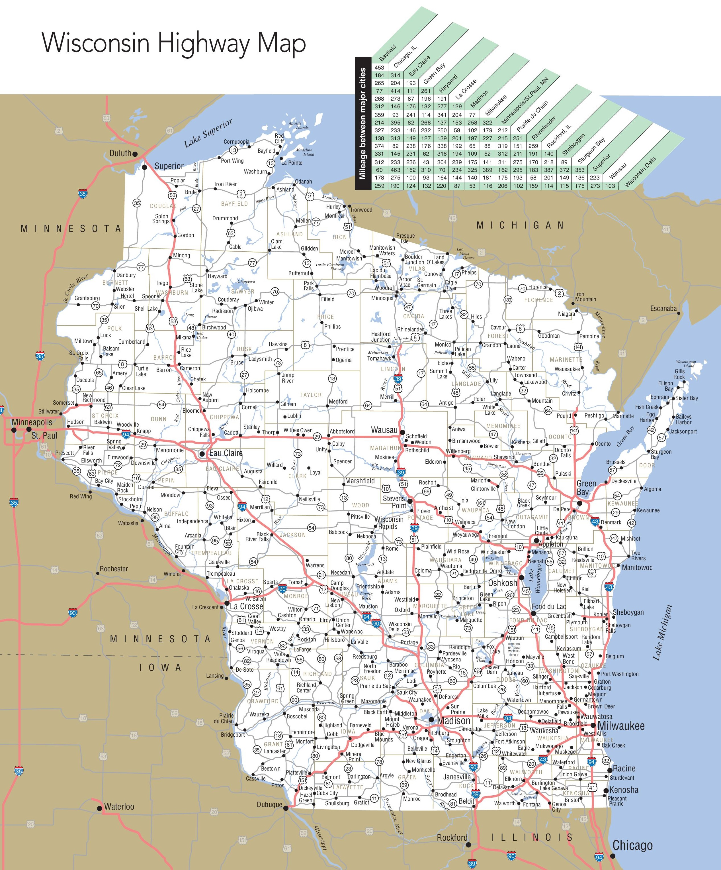 Large detailed map of Wisconsin with cities and towns on