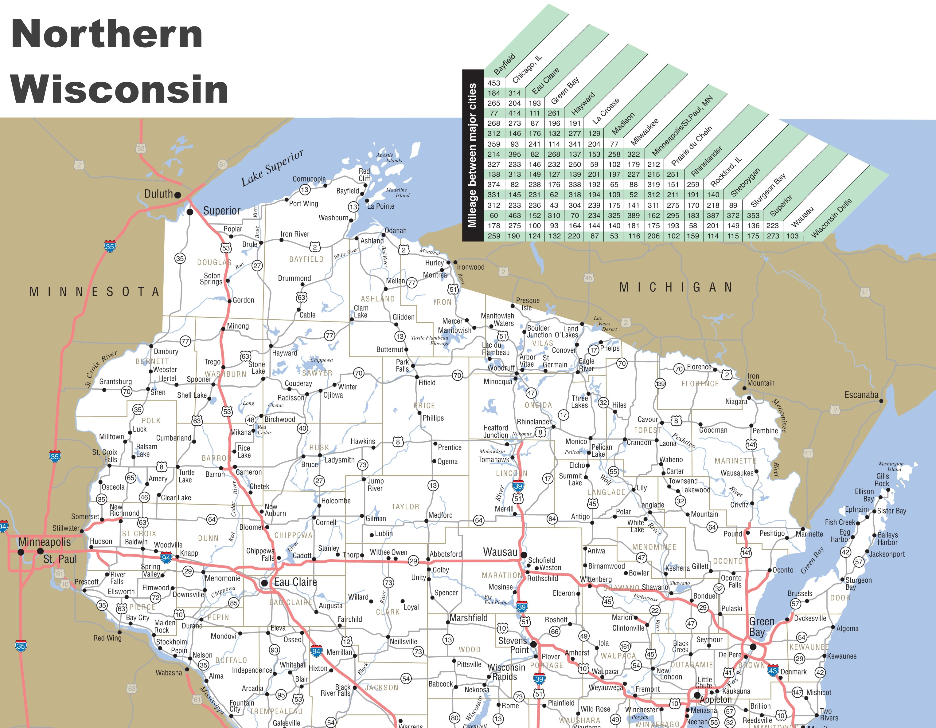 Map of Northern Wisconsin