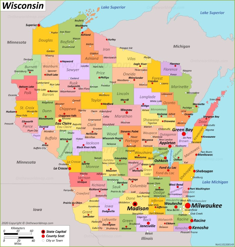 Show Wisconsin On Us Map Wisconsin State Maps | USA | Maps of Wisconsin (WI)
