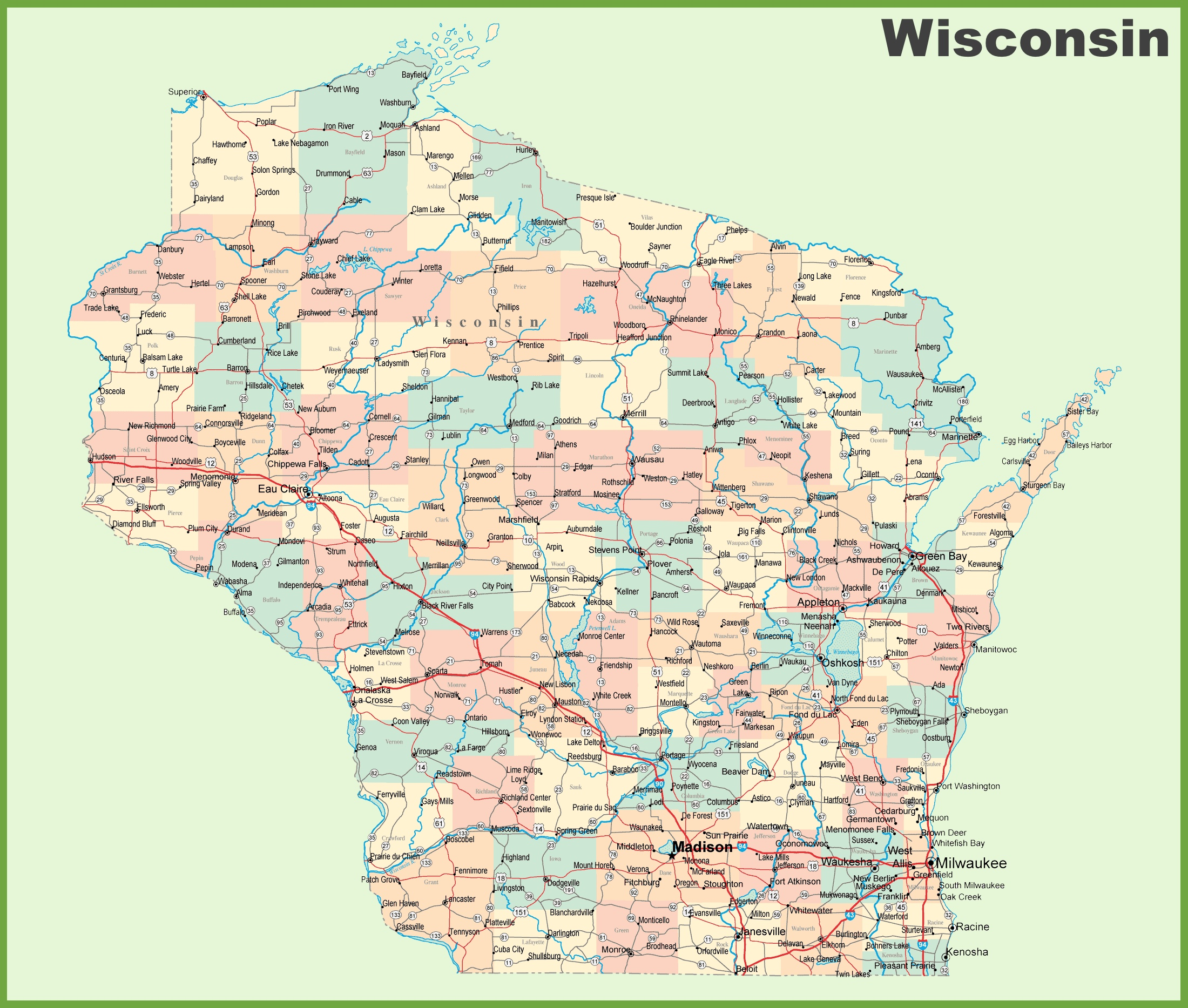 City Map Of Wisconsin Road map of Wisconsin with cities