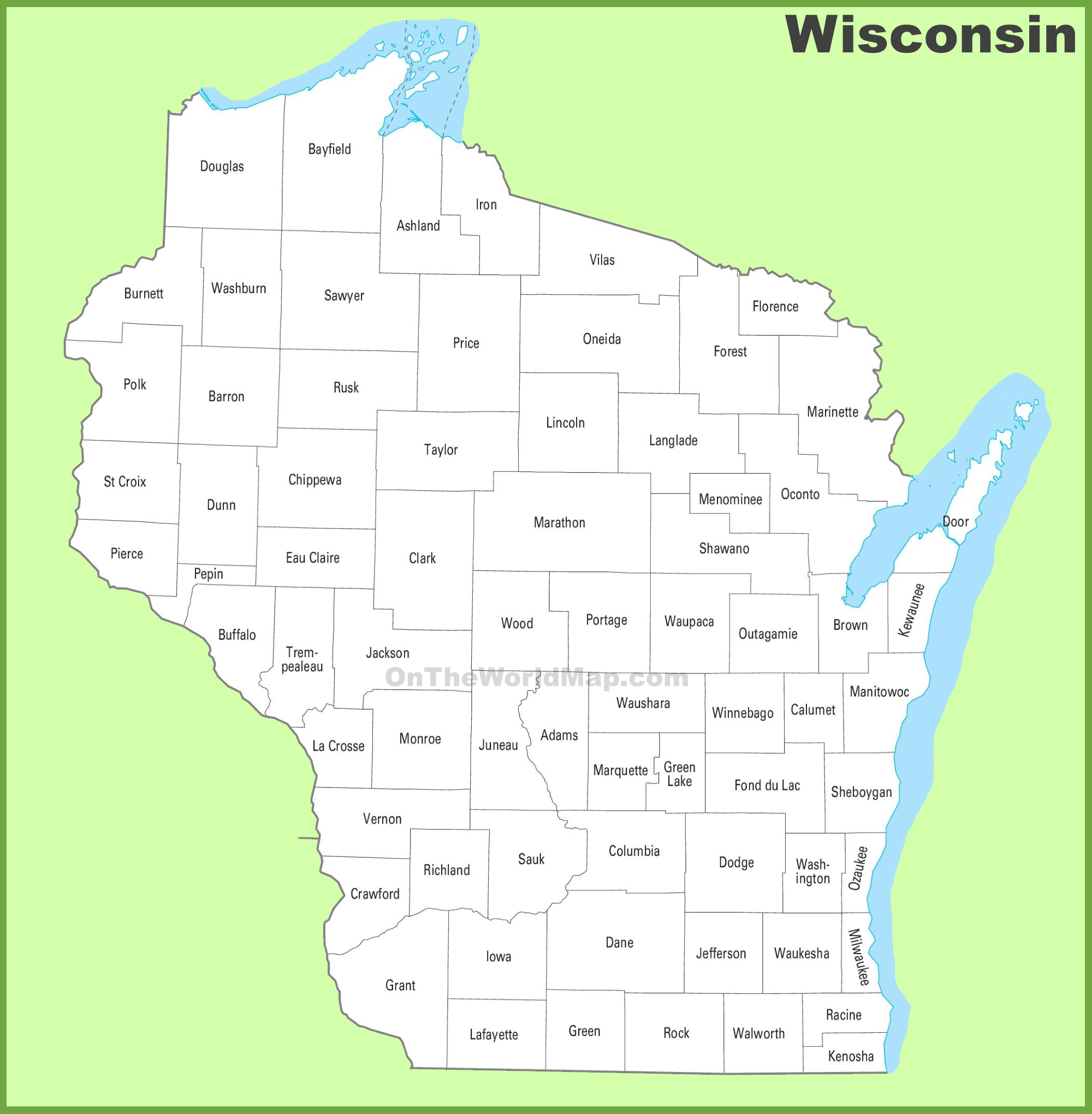 Wisconsin Map With Counties Wisconsin county map Wisconsin Map With Counties