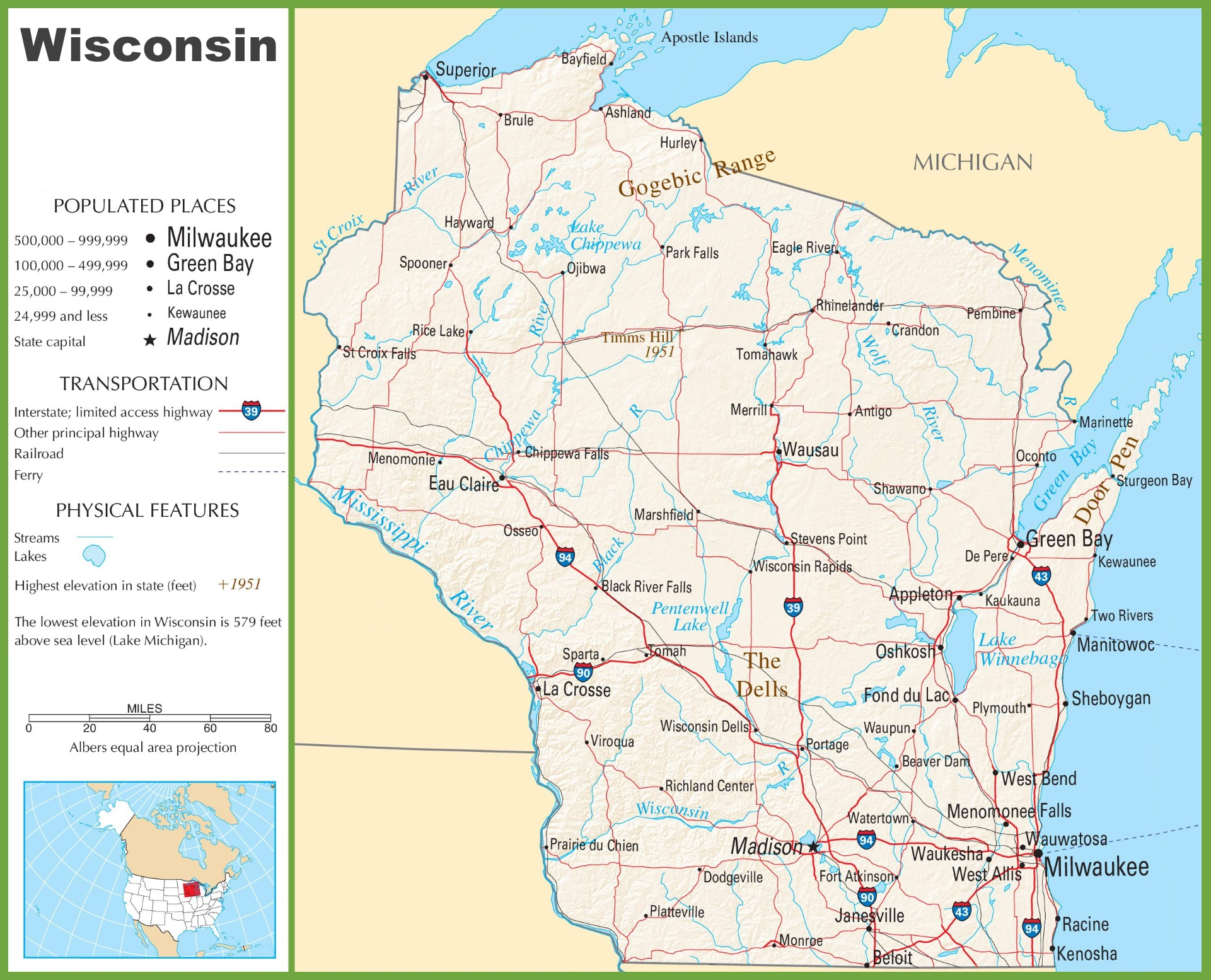 Wisconsin Highway Map - Wisconsin road map usa