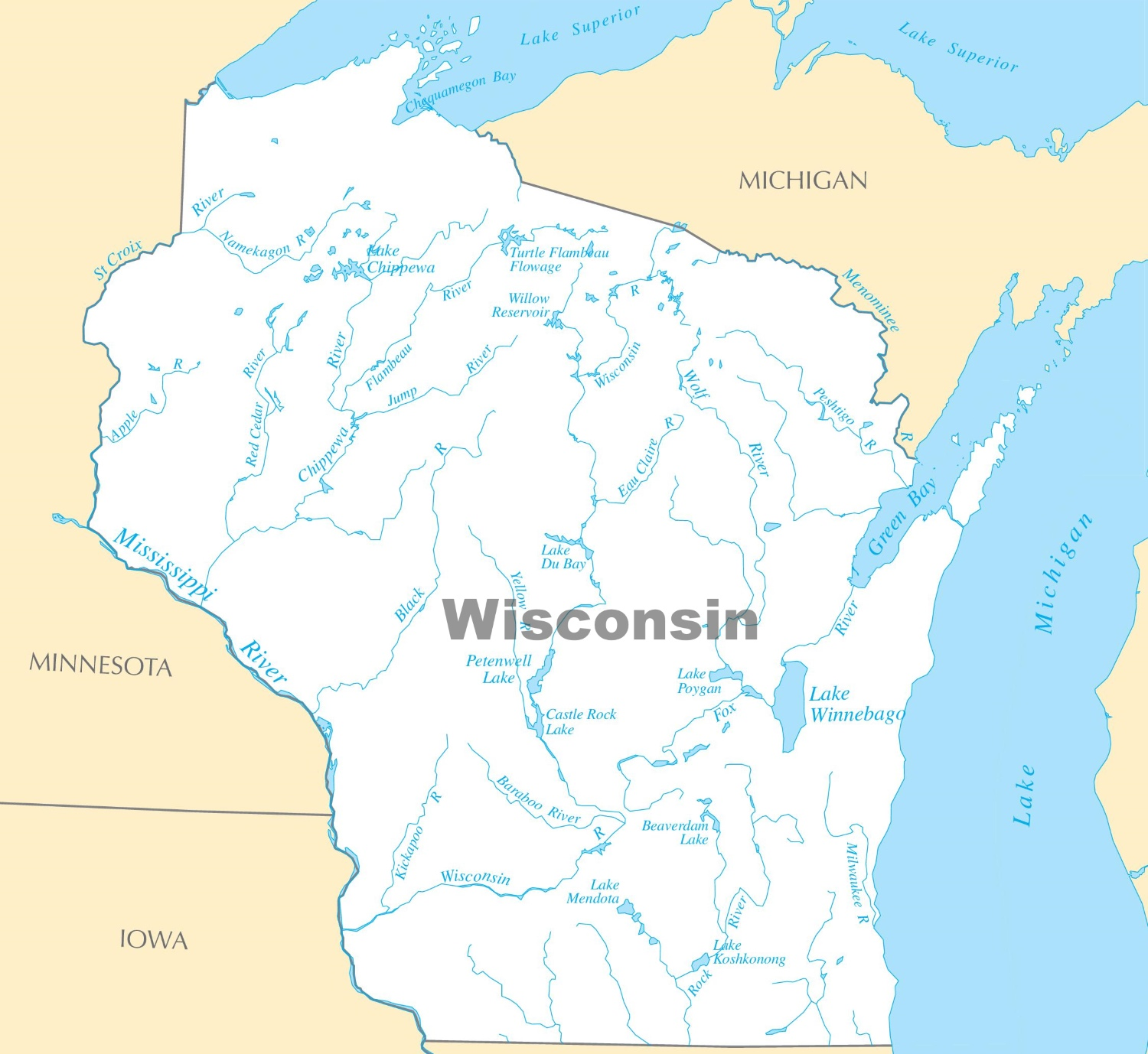 Wisconsin Lakes Map