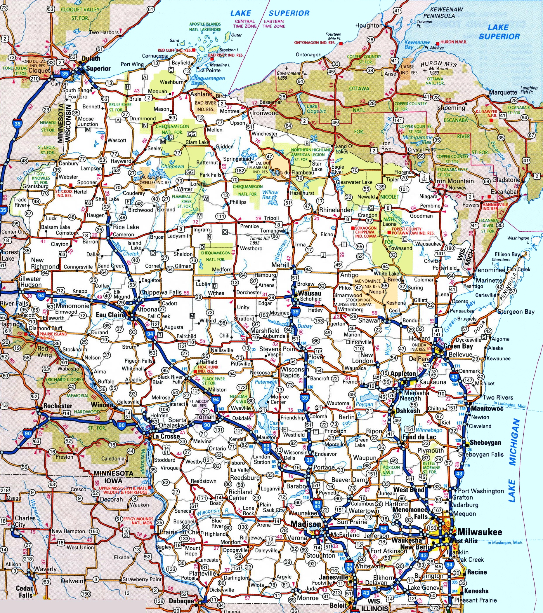 Wisconsin Road Map - Wisconsin state map of us