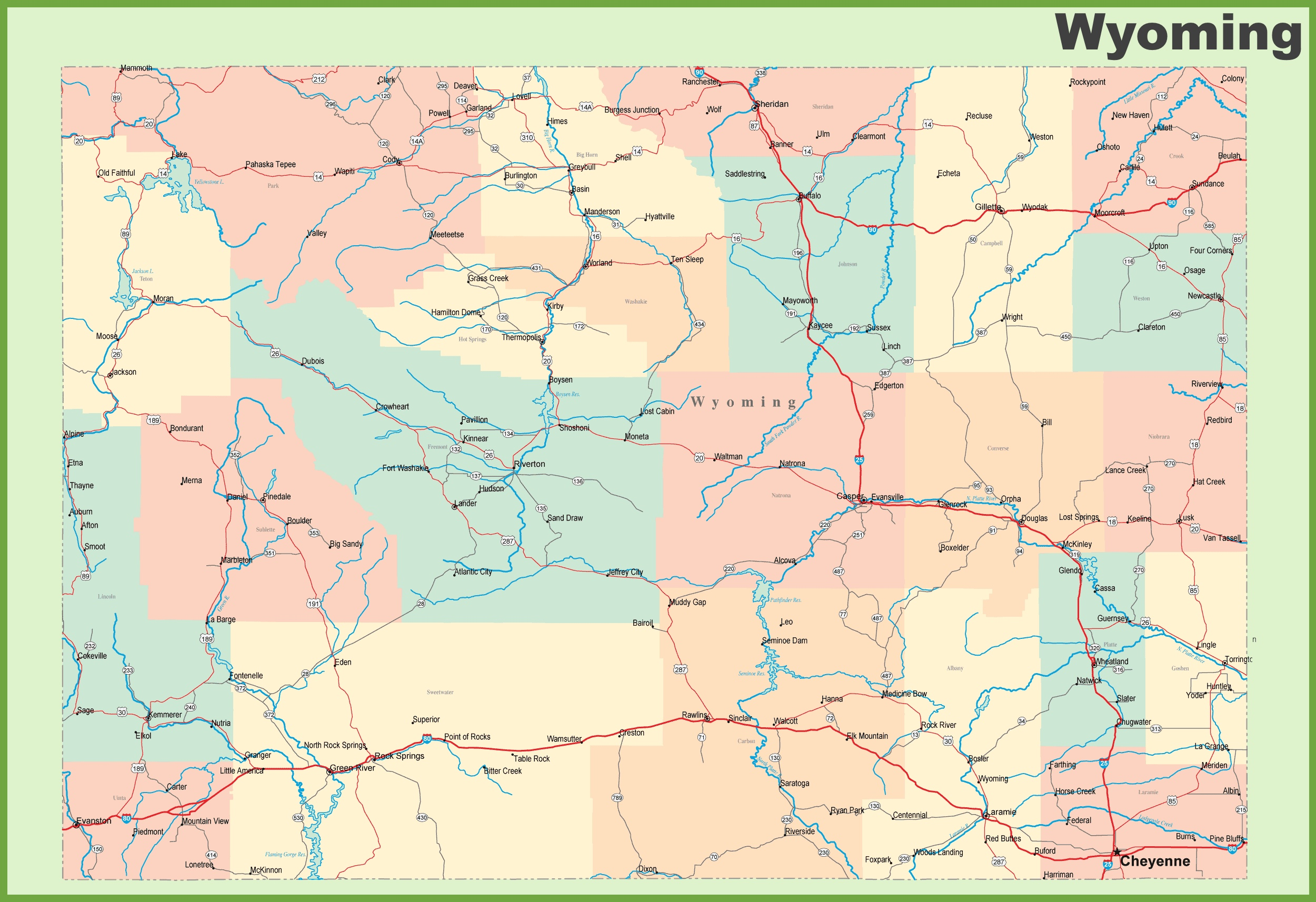Road map of Wyoming with cities