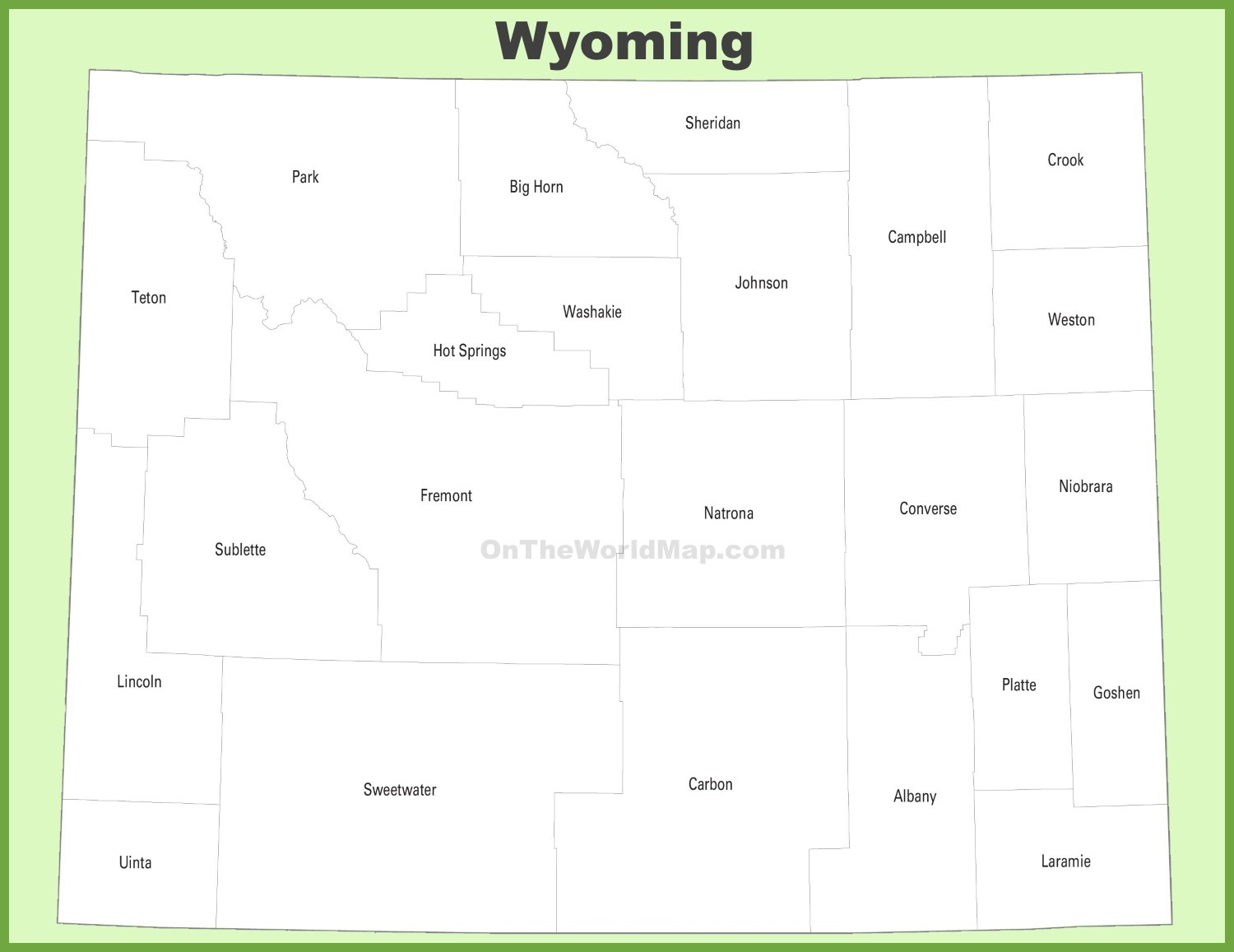 wyoming map with counties Wyoming County Map wyoming map with counties