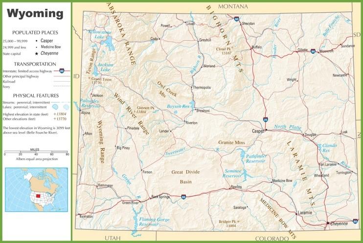 Wyoming highway map