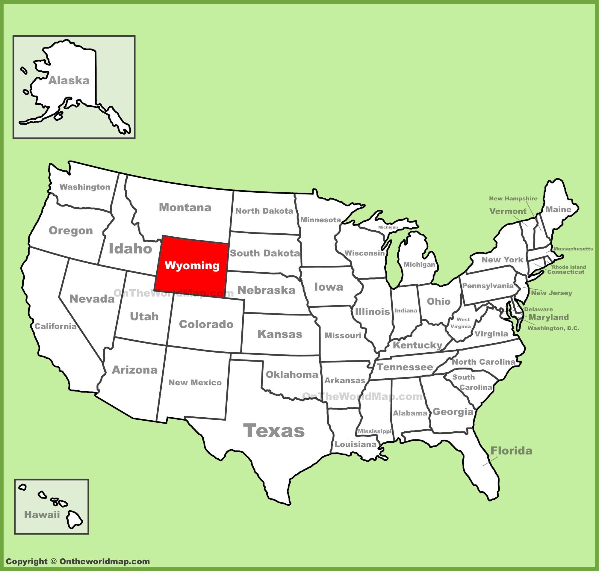Map Of Us Wyoming Wyoming location on the U.S. Map