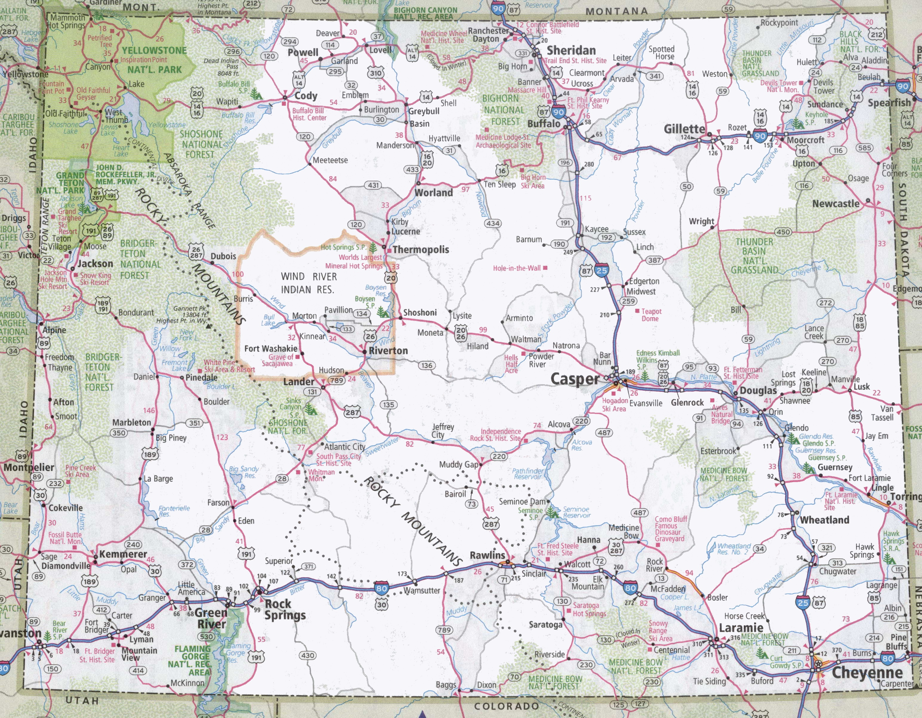 Wyoming Road Map - Cities in wyoming map