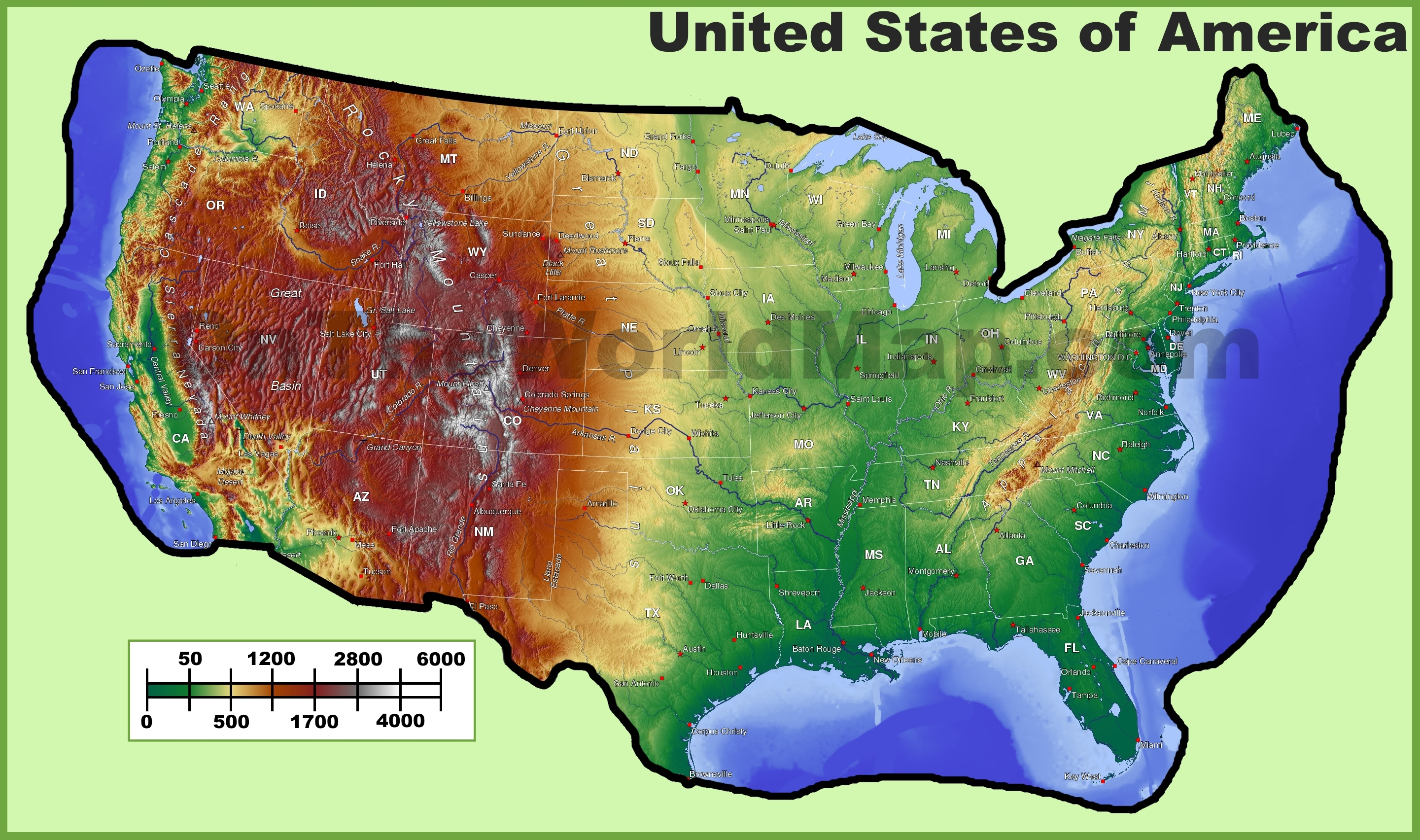 Terrain Map Of Usa Topographic map of USA