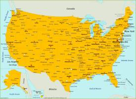 Map of U.S. with Cities