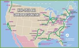 USA high speed rail map