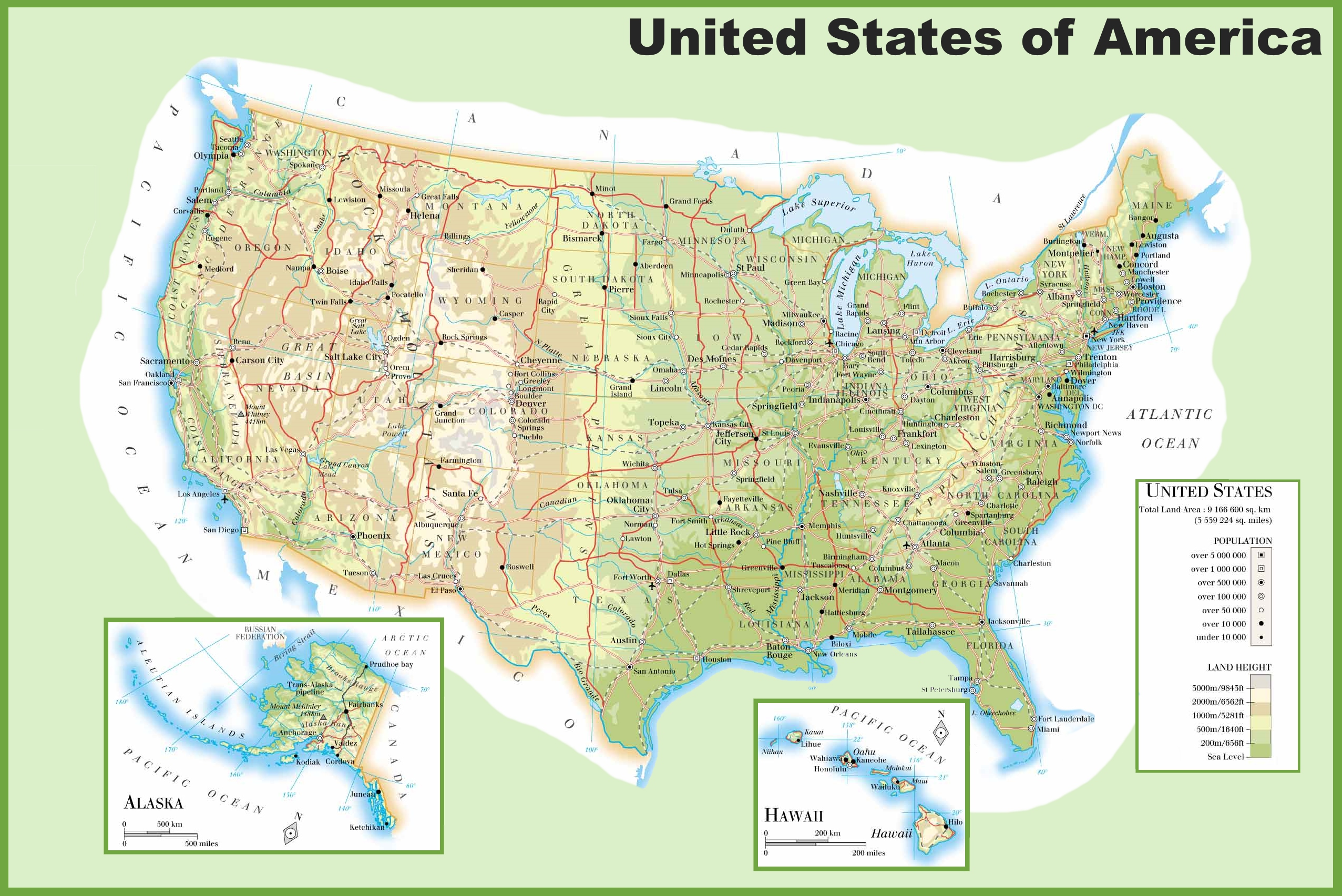 Usa physical map for United states of america cities
