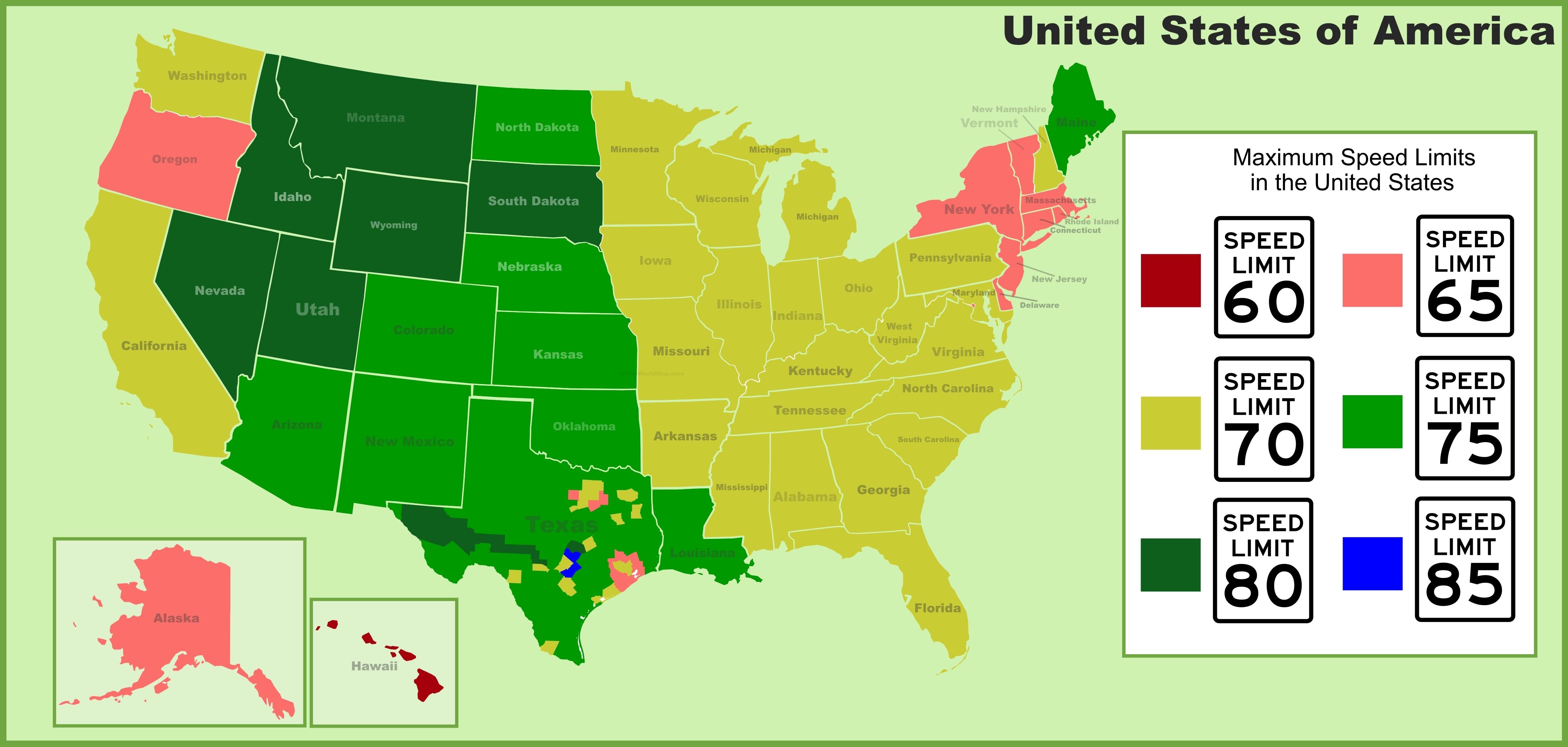 Speed Limit Map USA speed limits map Speed Limit Map
