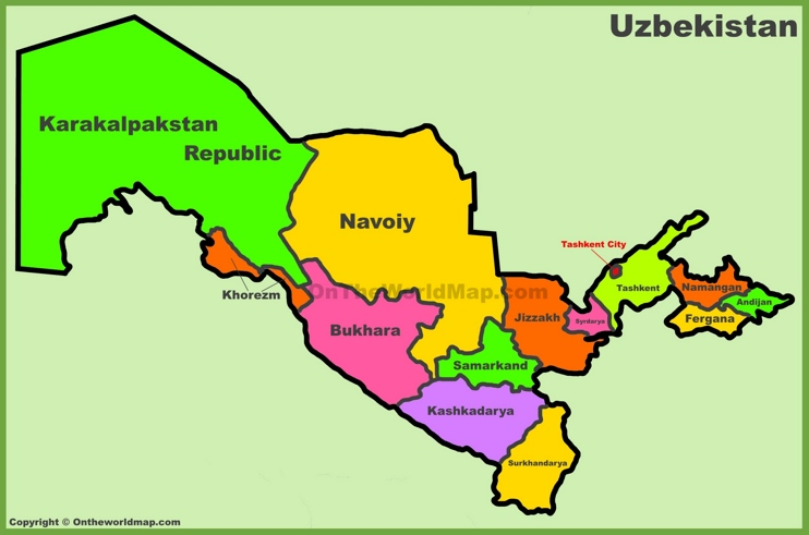 Administrative divisions map of Uzbekistan