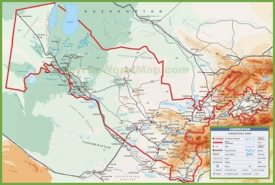 Large detailed map of Uzbekistan with cities and towns