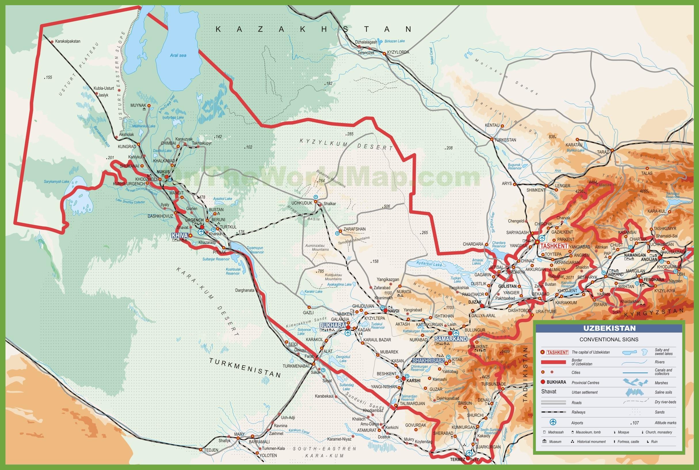 Uzbekistan Map Map - Www.sham.store •
