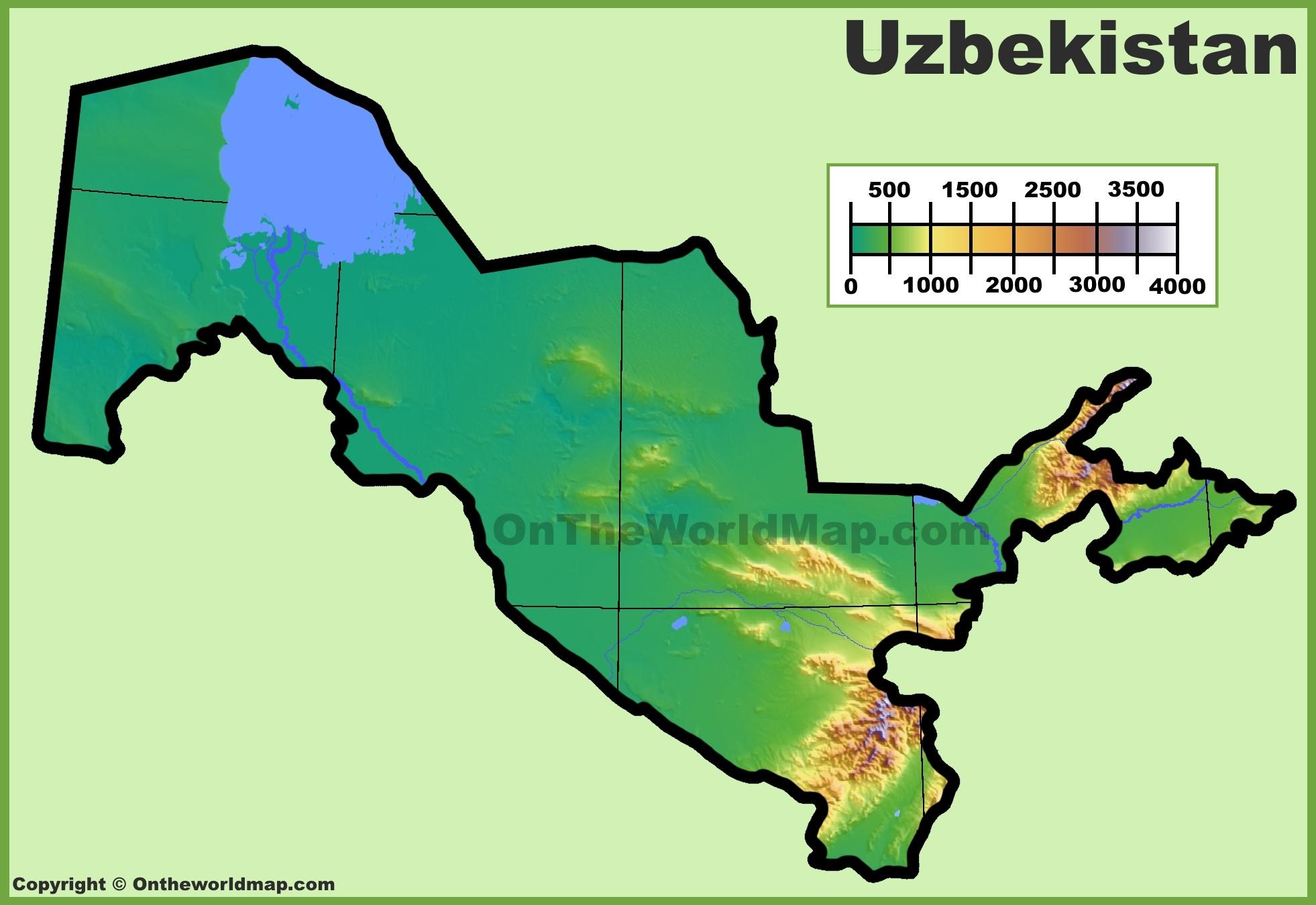 Uzbekistan Physical Map - Uzbekistan map