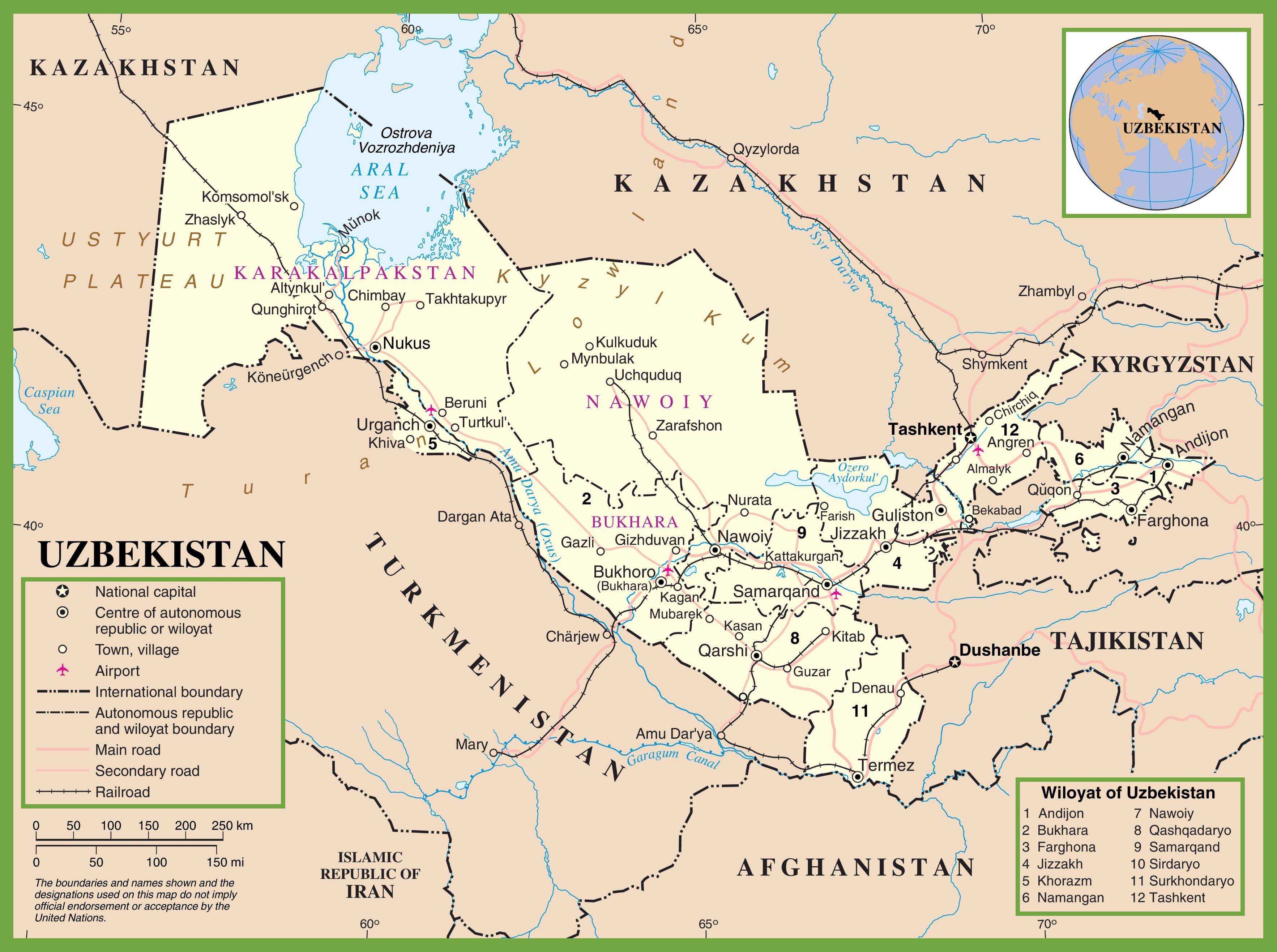 Uzbekistan political map